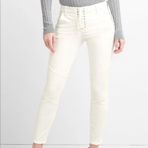 GAP Mid Rise White Moto Lace Up True Skinny Jeans